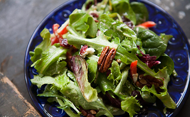 Mixed Green Salad Recipe with Pecans, Goat Cheese, and Honey Mustard Vinaigrette Recipe
